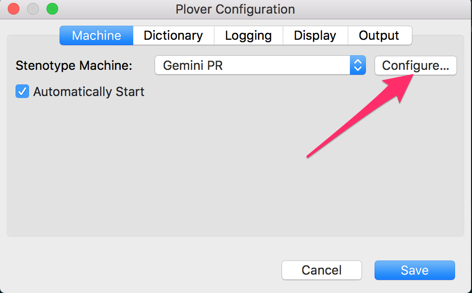 Select GeminiPR from dropdown and click Configure button