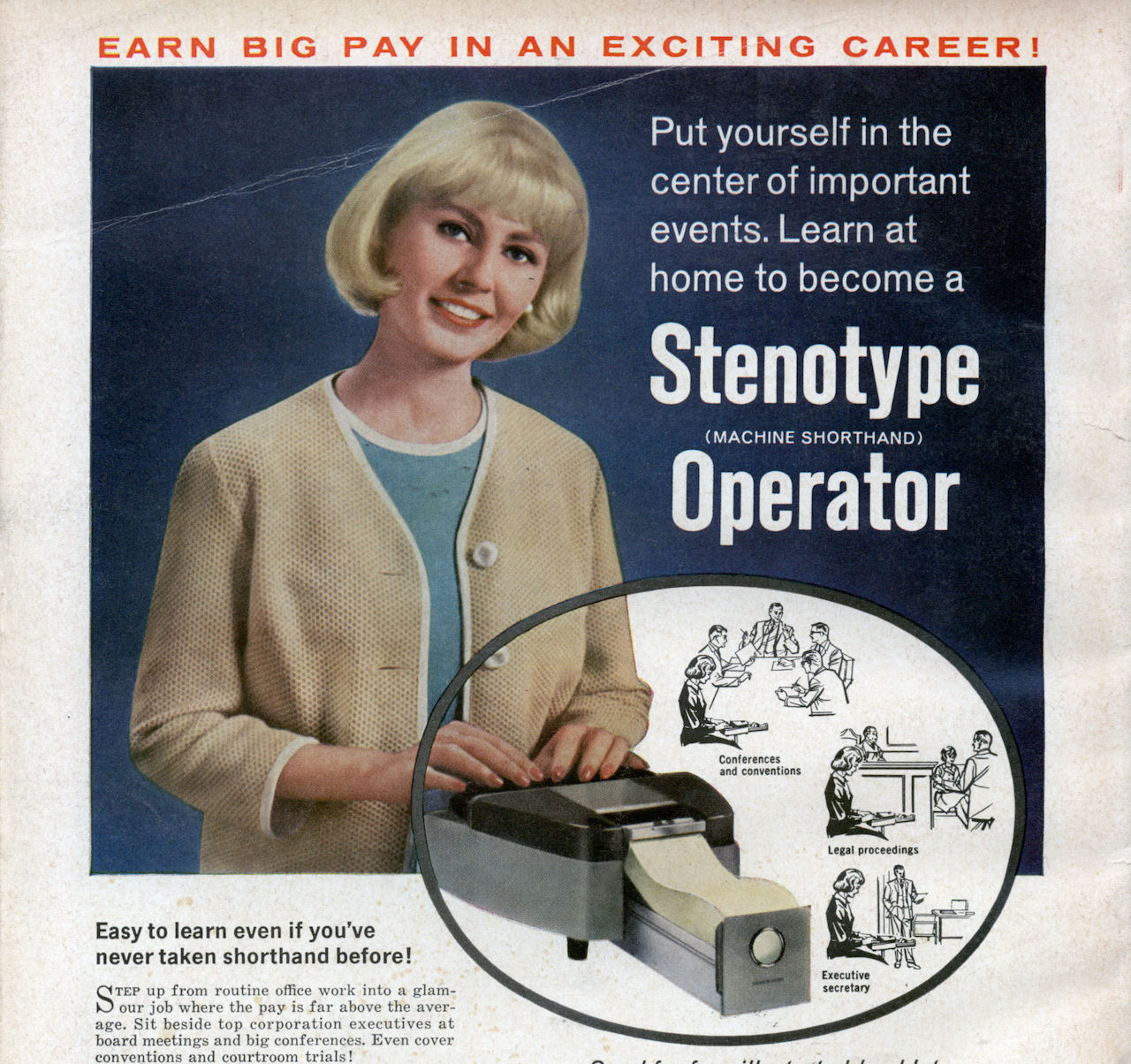 Stenotype advertisement by La Salle Extension University in 'Lady's Circle magazine's November 1965 issue