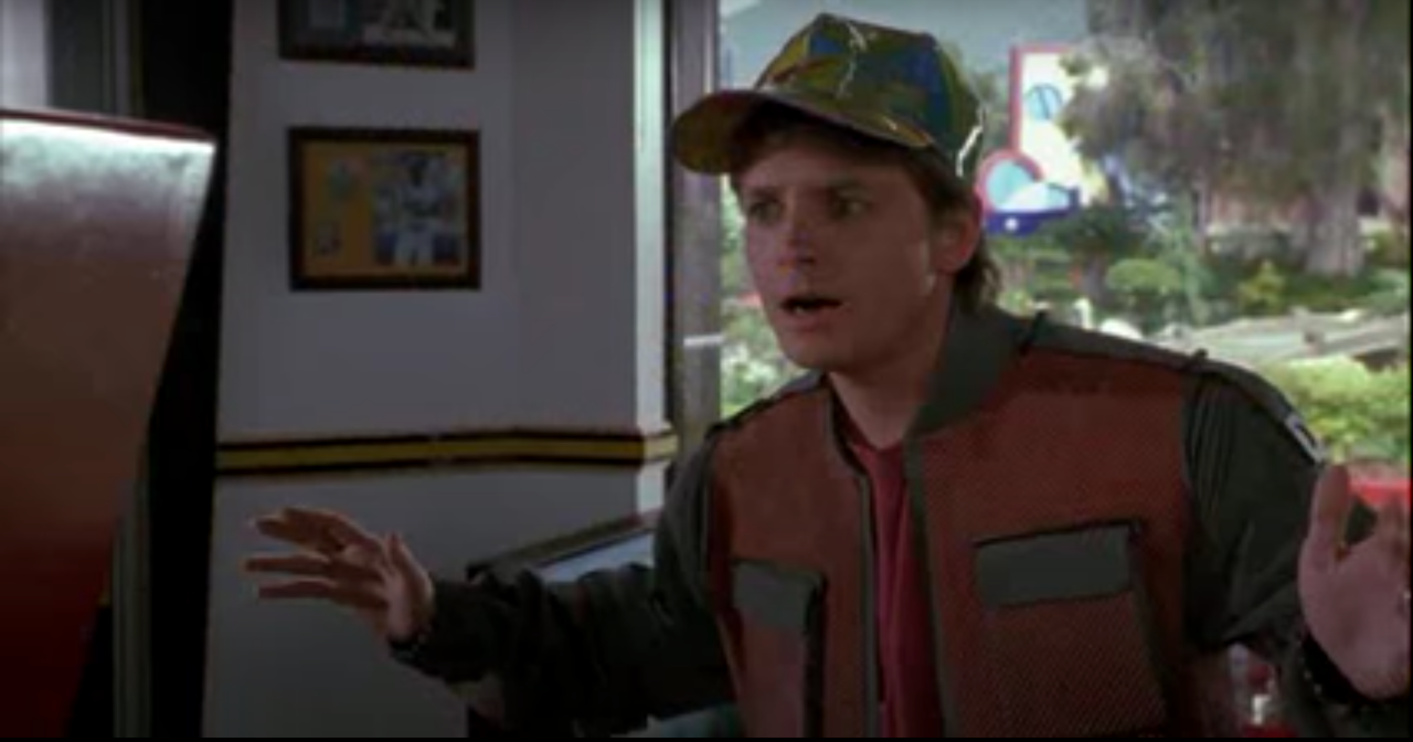 Marty McFly from Back to the Future exclaiming that all he wants is a Pepsi.