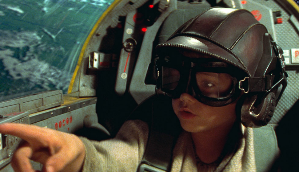 Anakin Skywalker piloting a Naboo fighter