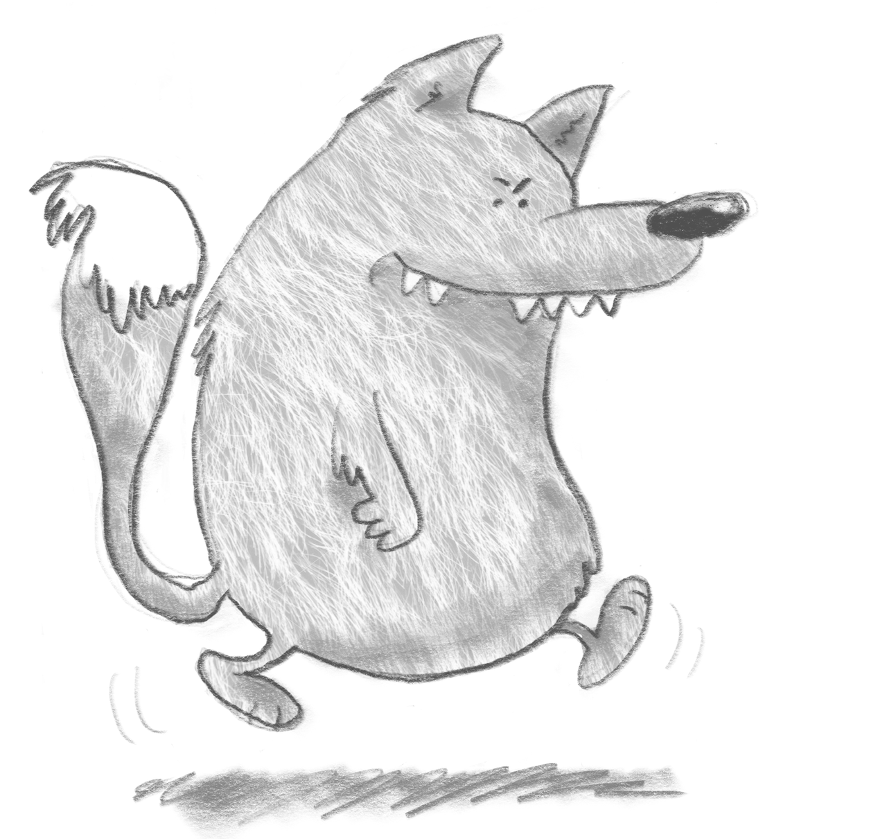 An illustration of The Big Bad Wolf from The Three Little Pigs