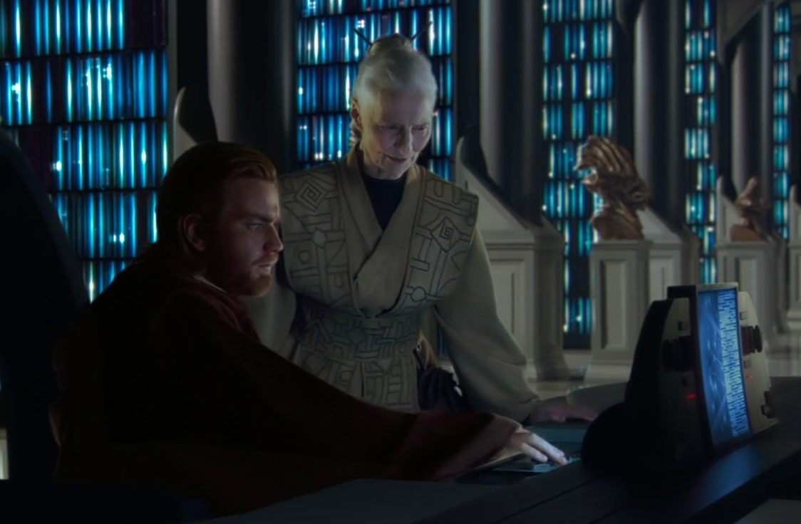 Jocasta helps Obi-wan in the Jedi Archives
